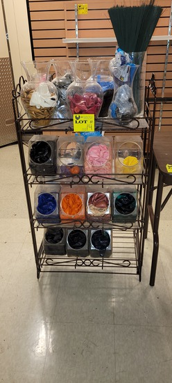 WIRE RACK FIXTURE 24 X 13 X 43 WITH 5 GLASS VASES AND 11 CANISTERS GILLED W