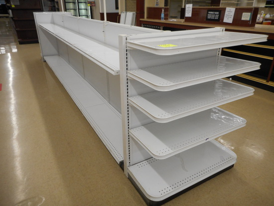 """SHELVING 2-SIDED 48"""" TALL 16'+2 END CAPS 16"""" DEEP WHITE"""