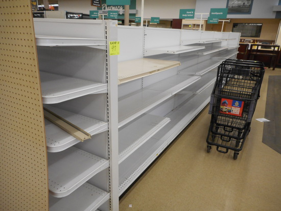 """SHELVING 2 SIDED 60"""" TALL 24'+2 END CAPS 16"""" DEEP WHITE"""