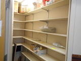 LOT OF WALL SHELVES W/CONTENTS