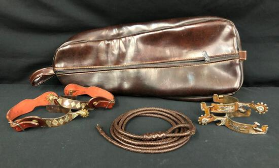 """Two Pair of Spurs, Kangaroo Leather """"Git Down"""" Bridle Case"""