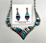 Fancy Inlay Necklace and Earring Set - Oscar Alxius