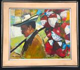 Paul Modlin Acrylic on Board, Original Frame Signature and Copyright Note on Back