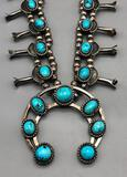 Beautiful Vintage Turquoise Squash Blossom Necklace