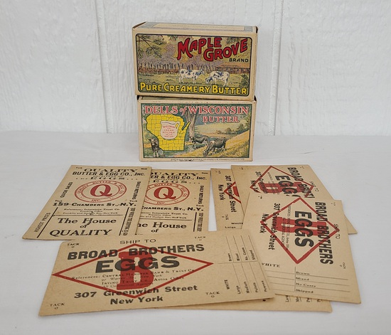 Original butter containers & egg cards