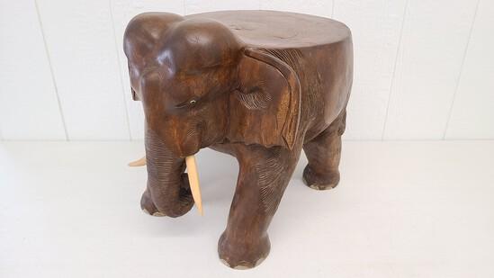 Elephant Carved Solid Hardwood Block