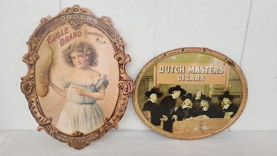 Bordens Milk Cardboard & Dutch Masters Cigar Sign