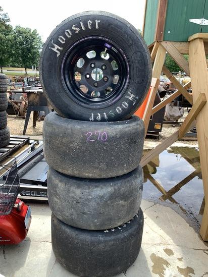"""Set of 4- 5 lug 15"""" steel wheels for racecar"""