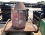 Metal Warehouse Cart & Vintage 60 Gallon Oil Drum