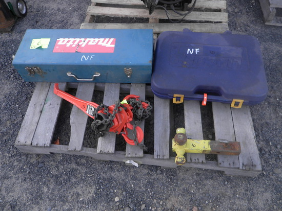Pallet- MAKITA Hammer Drill, Grease Can, Hitch, Come-Along
