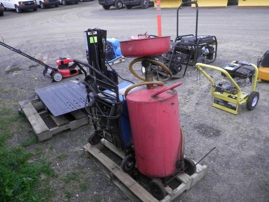Lot- MILLER 225 Stick Welder, Oil Catch Pan, Air Driven Drain