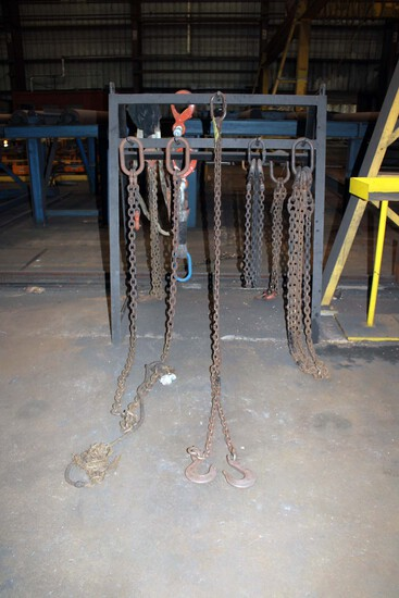 LOT OF CHAIN SLINGS (approx. 8), w/rack