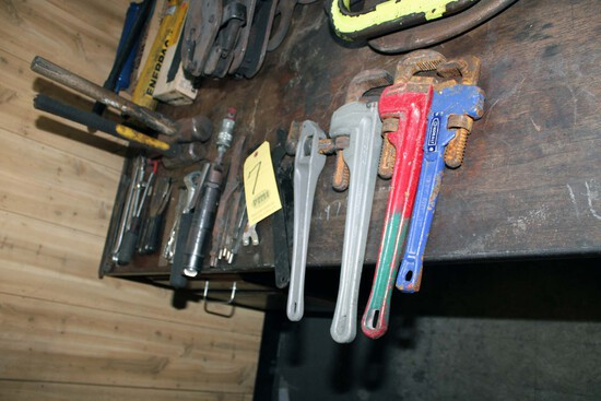 LOT CONSISTING OF: (4) pipe wrenches, (2) C-clamps, (1) chisel scaler w/chi