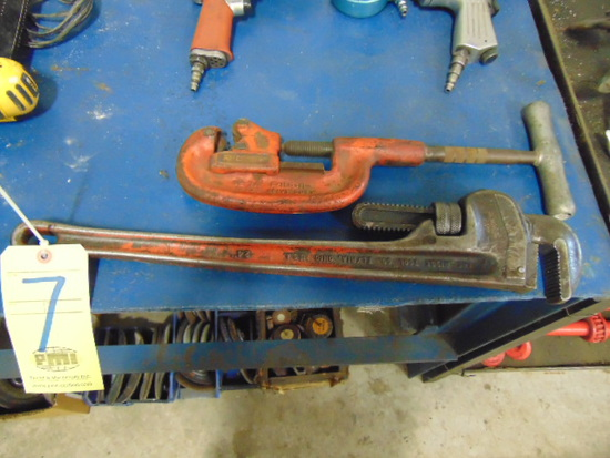 "LOT CONSISTING OF: 24"" pipe wrench & pipe cutter"