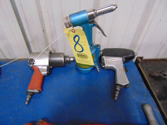 "LOT CONSISTING OF: (2) 1/2"" pneumatic impact wrenches & pneumatic rivet gun"