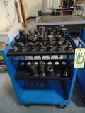 LOT OF CAT-40 TAPER TOOLHOLDERS (33), w/cart