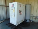 ROTARY SCREW AIR COMPRESSOR, GARDNER DENVER, 25 HP motor, w/air receiving t