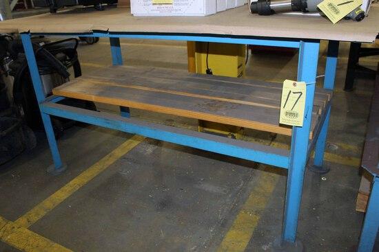 METAL TABLE, H.D. top, 3' x 6', 1/2 thk.