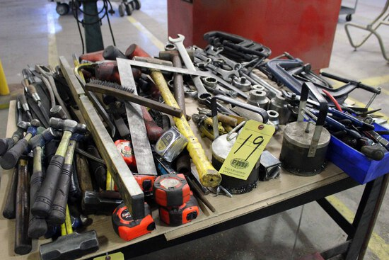 LOT CONSISTING OF: tools, hammers, clamps, wrenches, files, etc.  (large lo