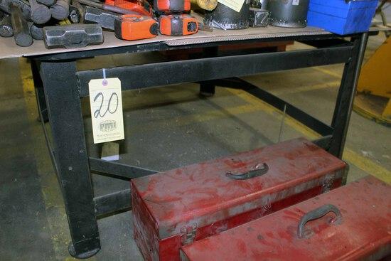 METAL TABLE, H.D. top, 4' x4', 1/2 thk.