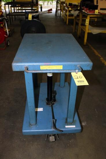 "HYDRAULIC LIFT TABLE, WESCO 2,000 LB. CAP. MDL. LT-20-2436, 24"" x 36"" table"