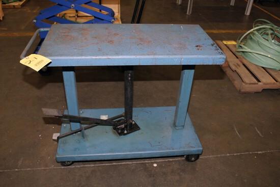 "HYDRAULIC LIFT TABLE, WESCO 1,000 LB. CAP. MDL. LT-10-1836, 18"" x 36"" table"
