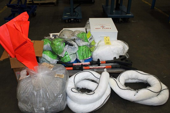 LOT OF PPE ITEMS: liquid spill containment items & first aid cabinets