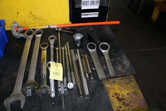 """LOT CONSISTING OF: open & closed end wrenches, 1/2"""" drive socket flex handl"""