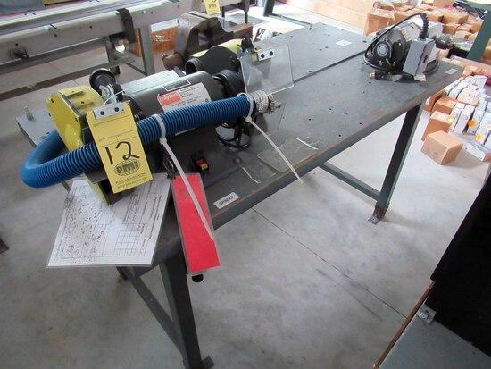 """LOT CONSISTING OF:  Dayton 8"""" double end grinder, Dayton Deburr machine & V"""