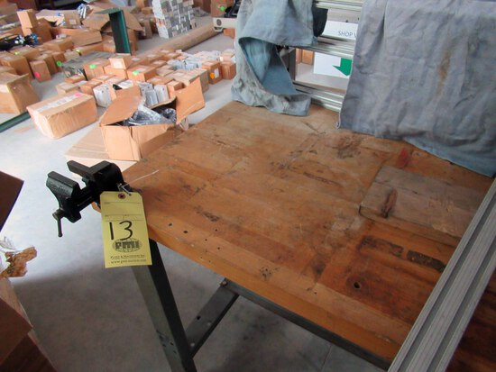 LOT OF WORKTABLES (2), (1) wood, w/small vise, (1) metal)  (Location 2: JE