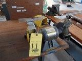 ELECTRIFIED WOOD TOP WORKTABLE, w / Baldor dbl. end grinder & Somma Deburr