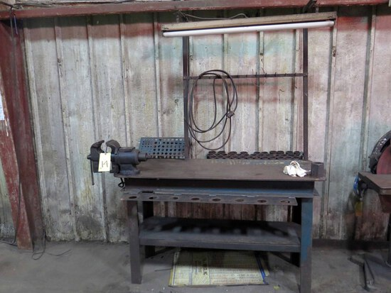 LOT CONSISTING OF: steel work table, 5' x 2', w/vise & fluorescent light fi