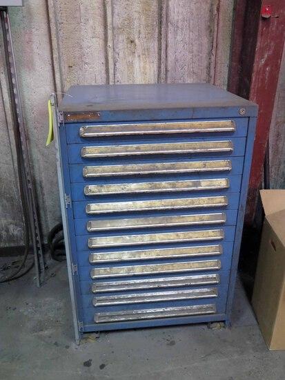 STORAGE CABINET, 12-drawer, w / drills, taps, dies & assorted carbide, misc