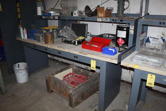 """ELECTRIFIED WORKBENCH, 3' x 8' table top, 15"""" x 8' accessory shelf, metal w"""