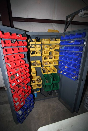 PARTS STORAGE CABINET, w/multiple plastic bins, w/contents   (Located at: A