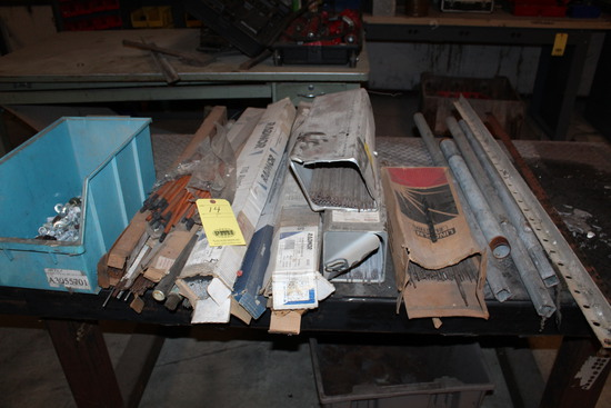 LOT CONSISTING OF: assorted welding rod, plastic bin w/nuts & bolts, pipe,
