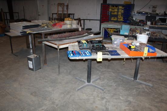 LOT OF TABLES (3), w/plastic bookshelves & legs, warning flags, etc.   (Loc