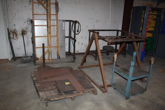 LOT CONSISTING OF: metal scrap (on one pallet), bottle racks, rolling scaff