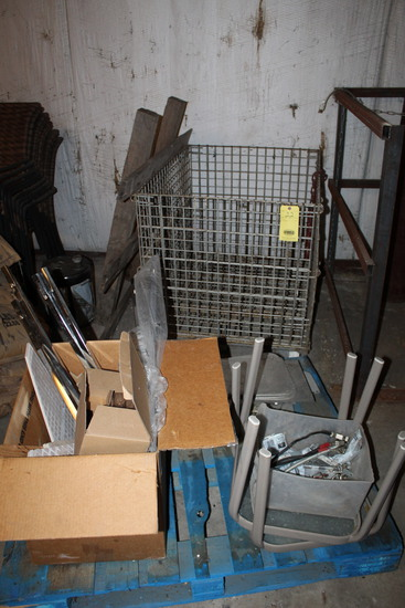 LOT CONSISTING OF: collapsible metal basket & blue wooden pallet w/assorted