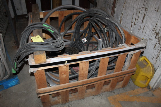 WOODEN CRATE, w/H.D. electrical conduit, welding leads & air hose   (Locate