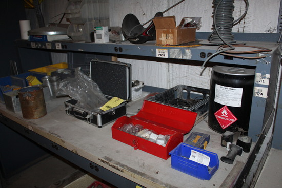LOT CONSISTING OF: misc. parts, nuts, bolts, tool kit, toolboxes (located o