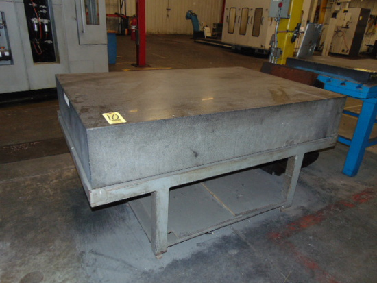 """GRANITE SURFACE PLATE, 72"""" X 48"""" X 12"""", w/ steel stand"""