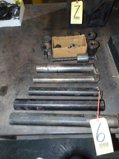 LOT OF BORING BARS (7), w/ heads & sleeves, assorted
