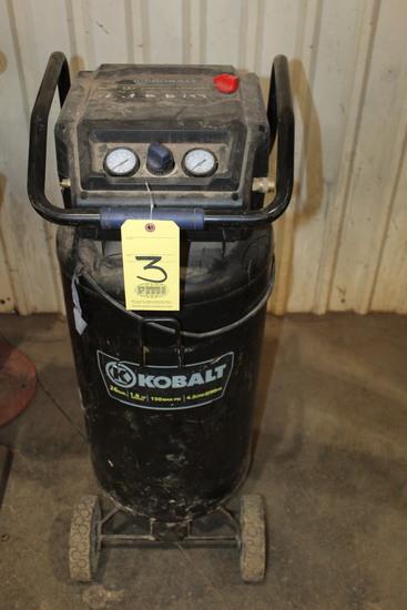 PORTABLE AIR COMPRESSOR, KOBALT, 26 gal. cap., 1.8 HP motor, 150 max. PSI,