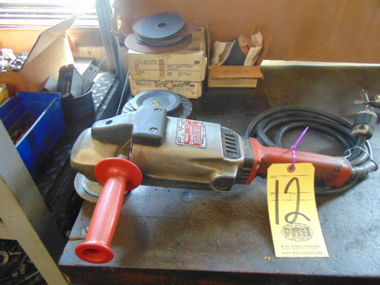 """H.D. RIGHT ANGLE DISC SANDER, MILWAUKEE, 8"""", w/ assorted sanding discs"""