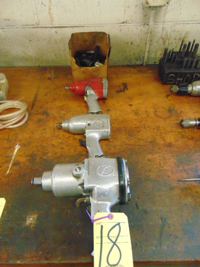 LOT OF PNEUMATIC IMPACT WRENCHES (3), w/ sockets, assorted