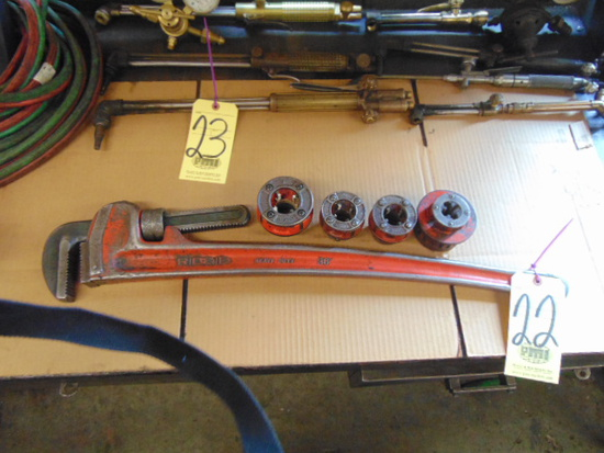 """LOT CONSISTING OF: Ridgid 36"""" pipe wrench & (4) pipe threading dies"""