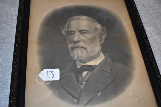 Framed engraving of General Robert E. Lee