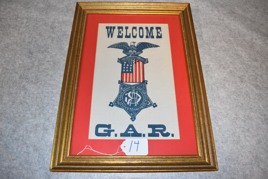 Framed G.A.R. (Grand Army of the Republic) welcome banner.