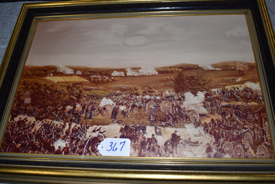 Print of painting of battle, probably Pickett's Charge at Gettysburg